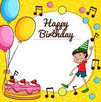 Modelo de cartão de feliz aniversário vetor