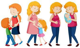 Conjunto de mãe e filhos vetor