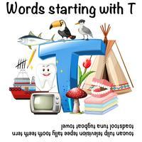 Palavra em Inglês para começar com a ilustração T vetor