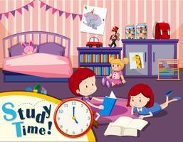 Tempo de estudo menino e menina vetor