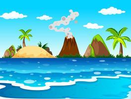 Cena do oceano com vulcão e ilha vetor