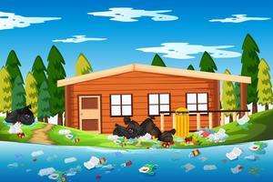 Lixo na casa de toras vetor