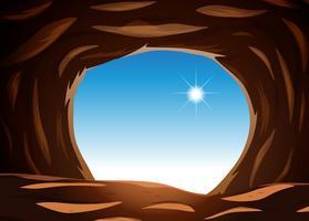 Visão externa da caverna vetor