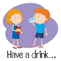 Wordcard para tomar uma bebida vetor