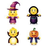 garota fofa com fantasia coleção de personagens de halloween vetor