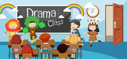 Crianças, em, classe drama vetor