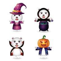 urso polar fofo com fantasia coleção de personagens de halloween vetor