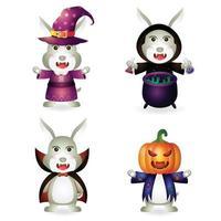 coelho fofo com fantasia coleção de personagens de halloween vetor