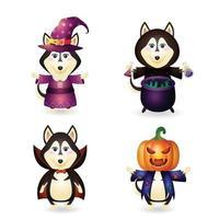 lobo fofo com fantasia coleção de personagens de halloween vetor