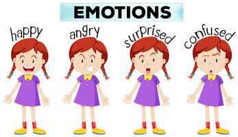 Menina, com, quatro, diferente, emoções vetor