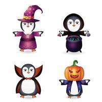 pinguim fofo com fantasia de coleção de personagens de halloween vetor