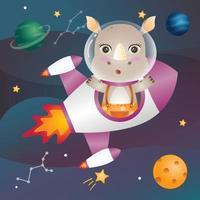um rinoceronte fofo na galáxia espacial vetor