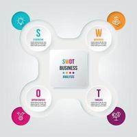 modelo de infográfico de conceito de negócio com análise swot. vetor