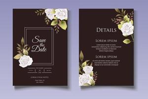modelo de cartão de convite de casamento floral elegante vetor