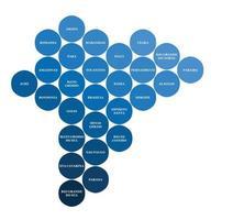 mapa político do brasil dividido pela geometria do círculo colorido do estado. vetor