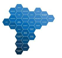 mapa político do brasil dividido por geometria de hexágono colorido estadual vetor