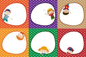 Um conjunto de quadro de crianças coloridas vetor