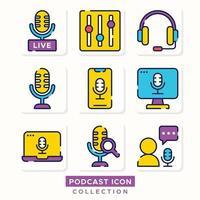 coleção de ícones de streaming de podcast online vetor