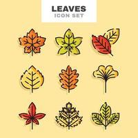 conjunto de ícones de folhas de outono vetor