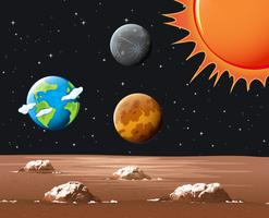 Planetas diferentes no sistema solar vetor