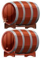 Barril de vinho no fundo branco vetor