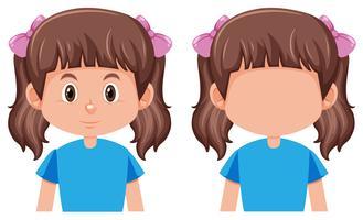 Um, cute, menina, personagem vetor
