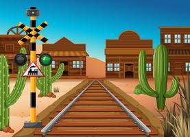 Trilha de trem através da cidade ocidental vetor