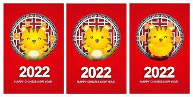 cartões comemorativos de feliz ano novo chinês de 2022, ano do tigre vetor