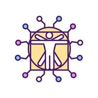 ícone de cor rgb de inteligência artificial vetor