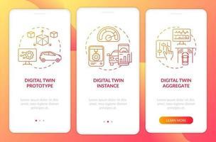 tela da página do aplicativo móvel de integração de tipos de gêmeos digitais vetor