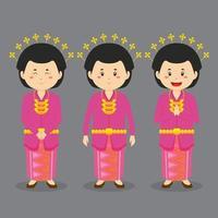 personagem da Indonésia riau com várias expressões vetor