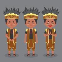 personagem indonésio de papua com várias expressões vetor