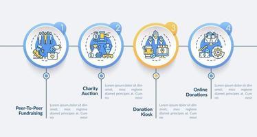modelo de infográfico de vetor de ideias para eventos de caridade