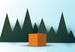 Cubo realista 3D triângulos verdes grama pano de fundo papel corte fundo vetor