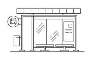 ilustração da arte linha do vetor da parada do ônibus. sair do metrô.