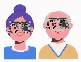 exame de visão de idosos em clínica oftalmológica. verificação de optometrista vetor