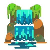 paisagem de cachoeira. rio de montanha com cascata. apartamento de vetor