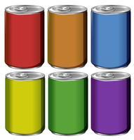 Latas de alumínio em seis cores vetor