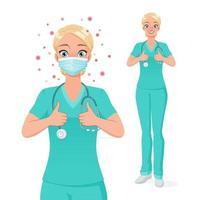 enfermeira médica com máscara mostrando os polegares para cima ilustração vetorial vetor