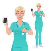 enfermeira mostrando smartphone em branco com polegar para cima ilustração vetorial vetor