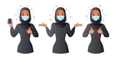 Mulher muçulmana com máscara mostrando os polegares para cima no smartphone e dando de ombros vetor