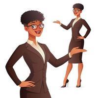 empresária sorridente apresentando ilustração vetorial vetor