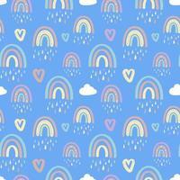 padrão sem emenda com arco-íris e nuvens com gotas de chuva vetor