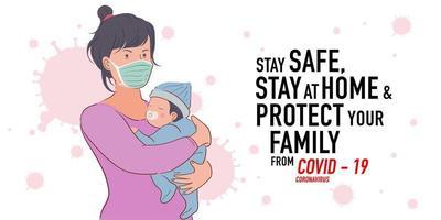 ilustração de prevenção de campanha corona de mãe protege seu bebê vetor