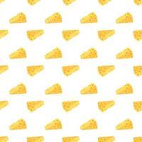 padrão sem emenda de queijo. pedaços de queijo amarelo vetor