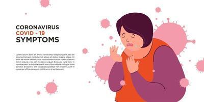 uma mulher pegou o sintoma do vírus corona covid -19 vetor
