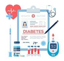 diagnóstico médico - diabetes. diabetes mellitus tipo 2 e insulina vetor