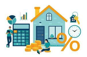 conceito de hipoteca. empréstimo de casa ou investimento em dinheiro para o setor imobiliário. vetor