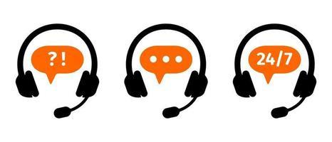 ícones do centro de atendimento da linha direta. clientes suportam símbolos de serviço online vetor