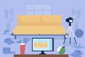 ilustração em vetor cor lisa vlogger bagunçado
